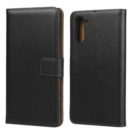 For Samsung Galaxy Note 10 Genuine Leather Card Holder Wallet Flip Stand Case - Black