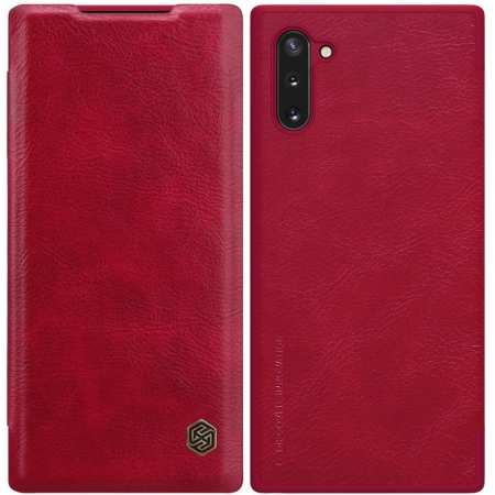 For Samsung Galaxy Note 10 Genuine Nillkin Qin Leather Card Slot Flip Case Cover - Red