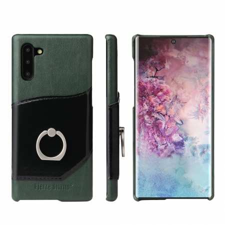 For Samsung Galaxy Note 10 Kickstand Genuine Leather Case - Green