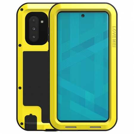 For Samsung Galaxy Note 10 LOVE MEI Aluminum Metal Shockproof Armor Case - Yellow