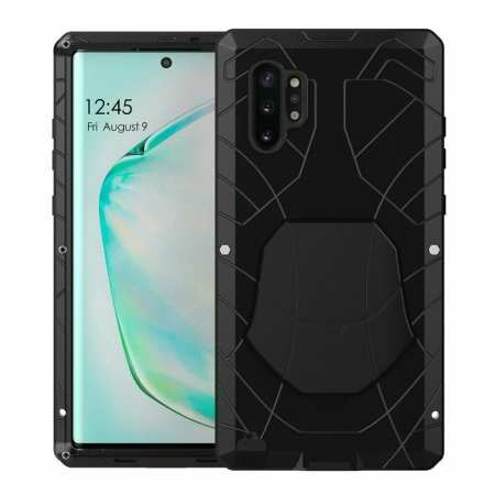 For Samsung Galaxy Note 10+ Plus Powerful Metal Aluminum Armor Silicone Case - Black