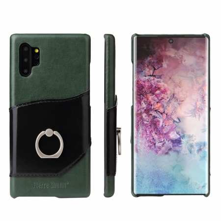 For Samsung Galaxy Note 10+ Ring Holder Kickstand Genuine Leather Case - Green