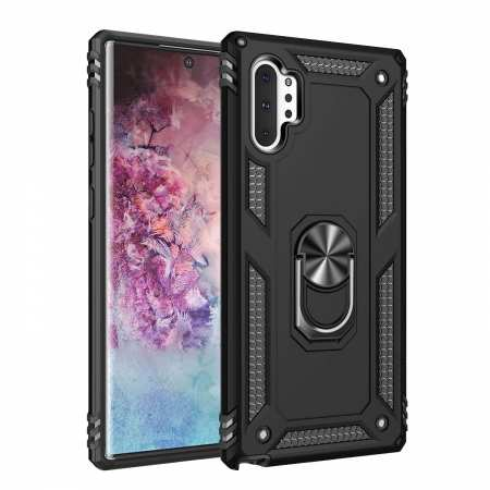 For Samsung Galaxy Note10 ShockProof Armor Magnetic Stand Case Cover - Black