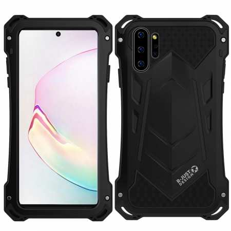 For Samsung Note 10 Plus Shockproof Metal Bumper Silicone Hybrid Rugged Armor Case - Black