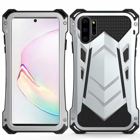 For Samsung Note 10 Plus Shockproof Metal Bumper Silicone Hybrid Rugged Armor Case - White