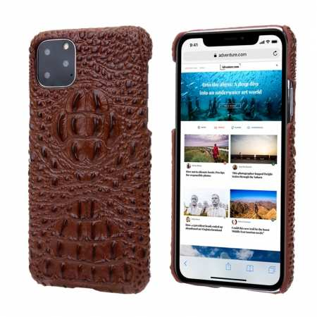 Cowhide Genuine 3D Crocodile Leather Phone Case Cover for iPhone 11 Pro - Brown