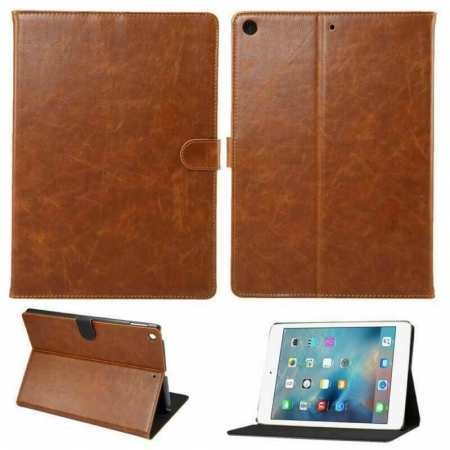 For iPad 10.2 2019 7th Gen Magnetic Wallet Card Smart Leather Stand Case Cover - Brown