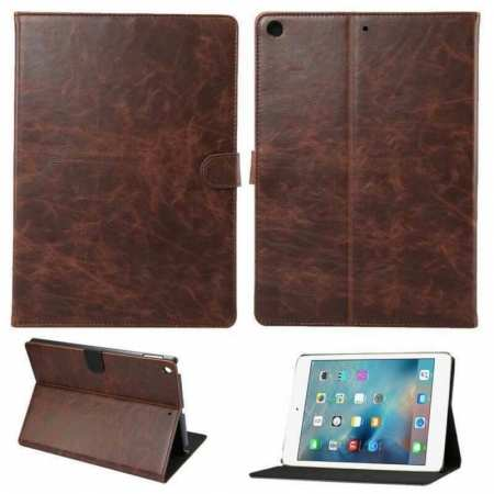 For iPad 10.2 7th 8th Gen Magnetic Wallet Card Smart Leather Stand Case Cover - Dark Brown