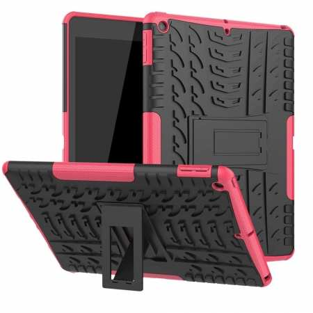 "For iPad 10.2"" 7th Gen 2019 Hybrid Shockproof Rugged Hard PC Case Cover w/ Stand - Hot Pink"