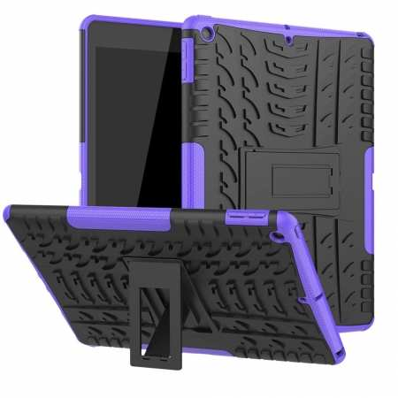 "For iPad 10.2"" 7th Gen 2019 Hybrid Shockproof Rugged Hard PC Case Cover w/ Stand - Purple"