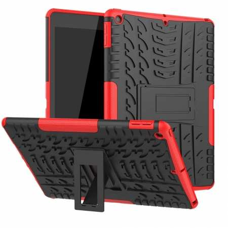 "For iPad 10.2"" 7th Gen 2019 Hybrid Shockproof Rugged Hard PC Case Cover w/ Stand - Red"