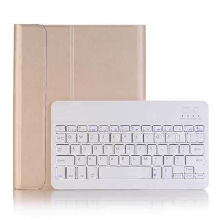 "For iPad 7th Gen 10.2"" 2019 2 in 1 ABS Ultra-thin Bluetooth Keyboard Leather Case - Gold"