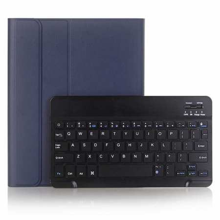 "For iPad 7th Gen 10.2"" 2019 2 in 1 ABS Ultra-thin Bluetooth Keyboard Leather Case - Navy Blue"