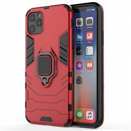 For iPhone 11 Pro Max Cover Magnetic 360 Ring Holder Stand Case - Red
