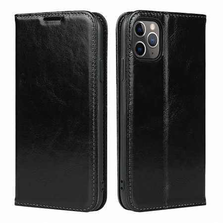 For iPhone 11 Pro Max Luxury Slim Leather Flip Wallet Card Slot Case Cover - Black