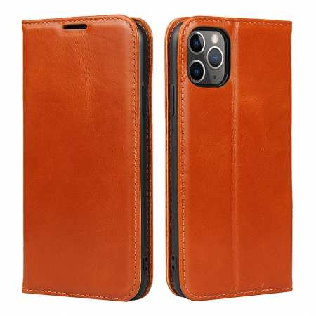 For iPhone 11 Pro Max Luxury Slim Leather Flip Wallet Card Slot Case Cover - Brown