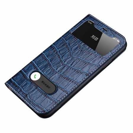 For iPhone 11 Pro Max Smart Crocodile Leather Windows Flip Case Cover - Navy Blue