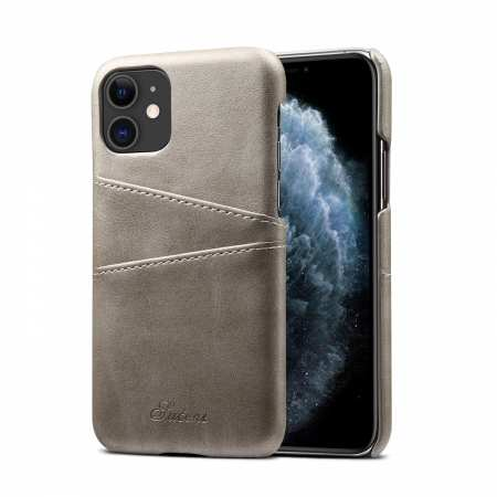 For iPhone 11 Pro Shockproof Leather Wallet Credit Card Slot Back Case Cover - Grey