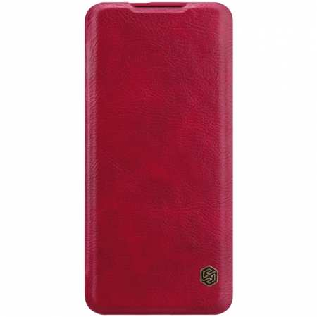 For OnePlus 7T Pro Nillkin Qin Leather Card Slot Flip Case Cover - Red