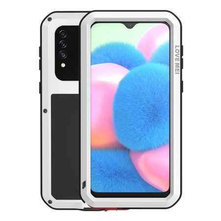 For Samsung Galaxy A30S LOVE MEI Gorilla Glass Waterproof Metal Case Cover - White
