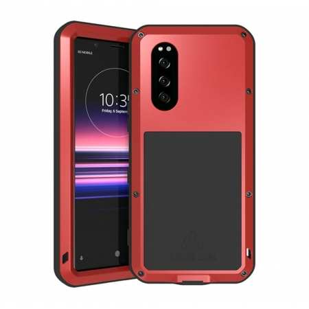 For Sony Xperia 5 LOVE MEI Gorilla Glass Waterproof Metal Case Cover - Red