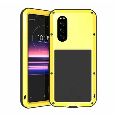For Sony Xperia 5 LOVE MEI Gorilla Glass Waterproof Metal Case Cover - Yellow