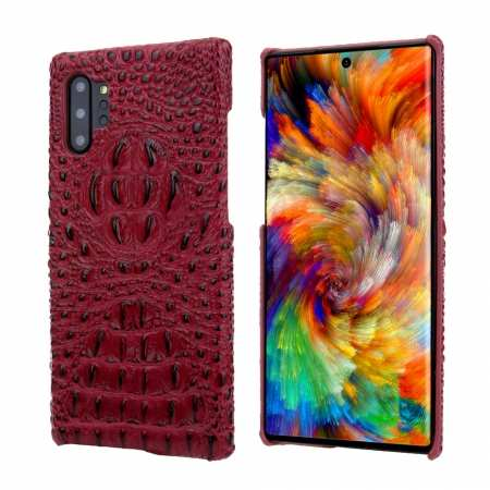 Genuine 3D Crocodile Leather Case Cover for Samsung Galaxy Note 10 + / 10 - Red