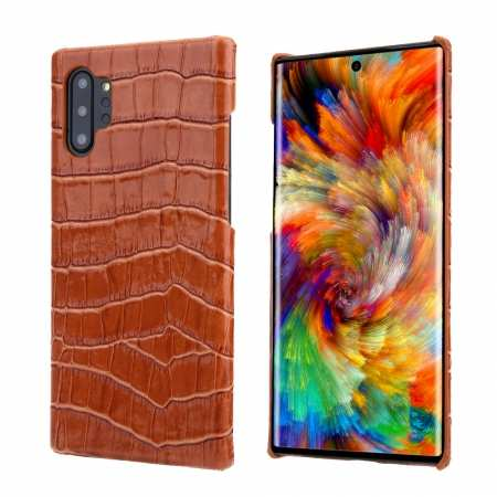 Genuine Crocodile Leather Back Case Cover for Samsung Galaxy Note 10+ Plus / 10 - Brown