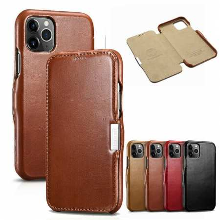 ICARER Genuine Real Cowhide Leather Case Cover For iPhone 11