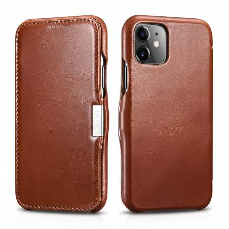 ICARER Vintage Genuine Leather Side Magnetic Flip Case for iPhone 11 Pro Max - Brown