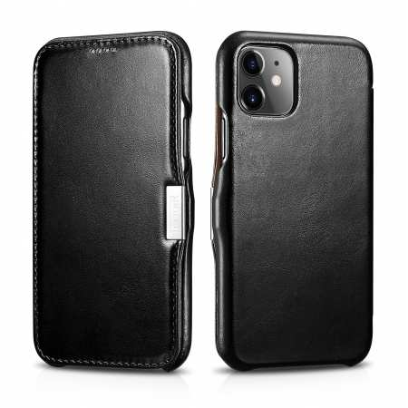 ICARER Vintage Magnetic Genuine Leather Flip Case Cover for iPhone 11 Pro MaX - Black