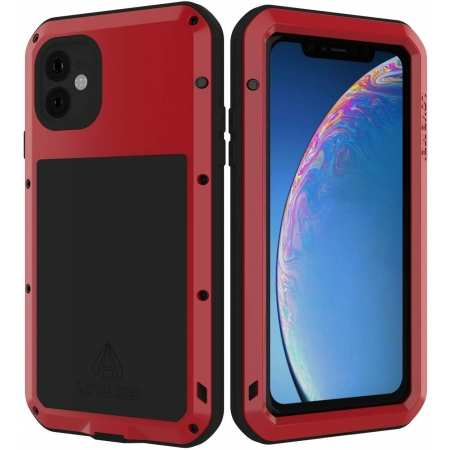 LOVE MEI Full Body Shockproof Dustproof Metal Silicone Cover for iPhone 11 6.1 Inch - Red