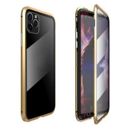 Magnetic Absorption Double Side Tempered Glass Metal Case Cover For iPhone 11 Pro - Gold