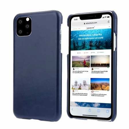 Matte Genuine Leather Back Case Cover for iPhone 11 Pro Max - Navy Blue