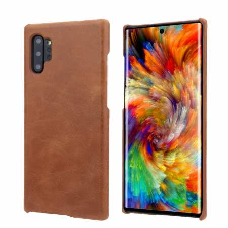 Matte Genuine Leather Back Case Cover for Samsung Galaxy Note 10+ / 10 - Brown