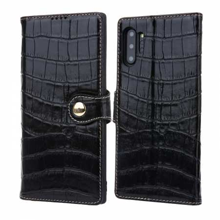 Real Cowhide Leather Crocodile Case Cover Wallet Card Stand For Samsung Note 10+ / 10 - Black