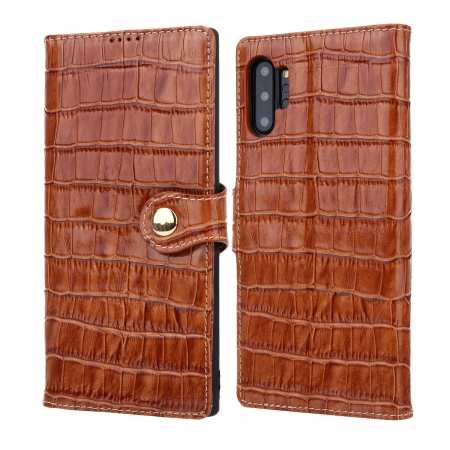 Real Cowhide Leather Crocodile Case Cover Wallet Card Stand For Samsung Note Note 10+ Plus - Brown