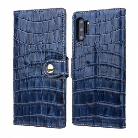 Real Cowhide Leather Crocodile Case Cover Wallet Card Stand For Samsung Note Note 10+ Plus - Navy