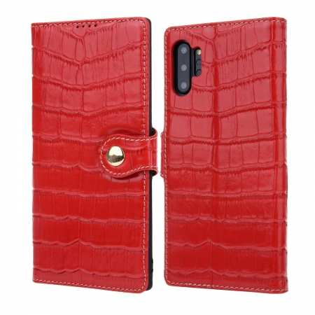 Real Cowhide Leather Crocodile Case Cover Wallet Card Stand For Samsung Note 10+ Plus - Red