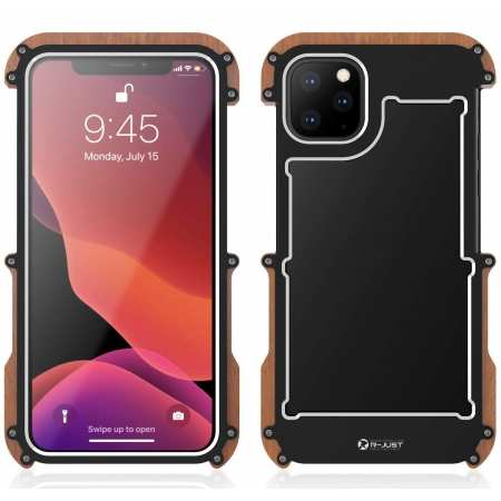 Shockproof Aluminum Metal Wood Bumper Frame Case Cover for iPhone 11 Pro - Black