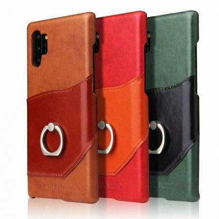 For Samsung Galaxy Note 10 Plus S10 Real Cowhide Leather Metal Ring Stand Cover Case