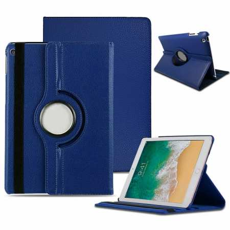 Case for iPad 7th Generation 360 Degree Smart Rotating Leather Cover - Dark Blue