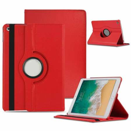 "For 2019 iPad 10.2"" 7th Generation Case 360° Rotating PU Leather Magnetic Smart Stand Cover - Red"