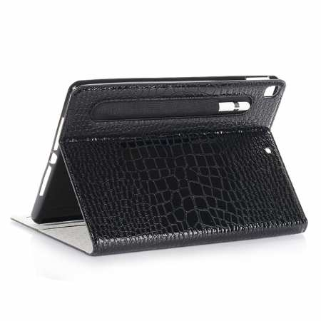 For iPad 10.2 7th Gen 2019 Smart Leather Flip Case Pen Holder Card Slot Cover - Black