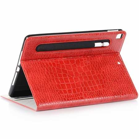 "For iPad 7th Gen 10.2"" Inch 2019 Leather Stand Case Cover W/ Pen Holder - Red"