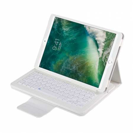 "For iPad 7th Generation 10.2"" Bluetooth Keyboard Leather Folio Case Cover - White"