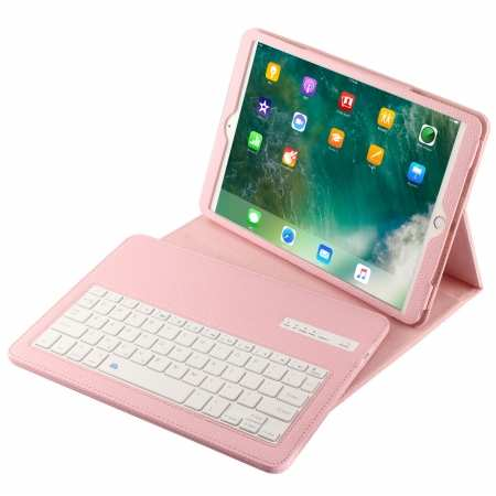 "For iPad 7th Generation 10.2"" inch 2019 Bluetooth Keyboard Leather Case Cover - Pink"
