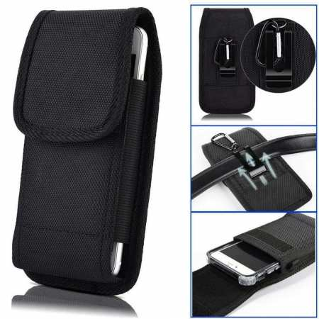 For Total Wireless Prepaid LG Premier Pro Plus Phone Case Belt Pouch With Clip Black