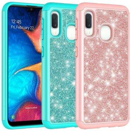 For Samsung Galaxy A11 A21 A71 5G A51 A10e Case Rugged Armor Glitter Cover