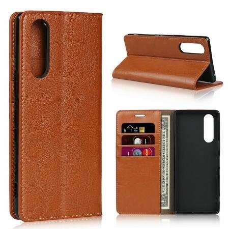 For Sony Xperia 5 Genuine Leather Wallet Flip Case Stand Cover